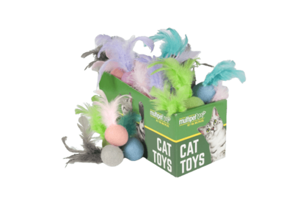 Felted Feather Ball Cat Toys, 30 Piece PDQ