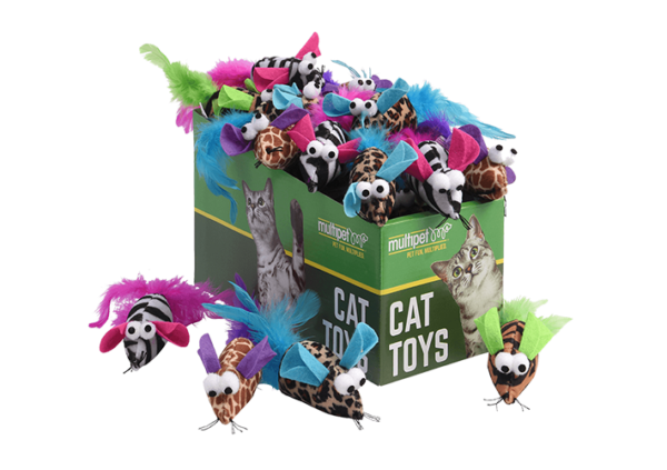 Safari Feather Mice Cat Toys, 25 Piece PDQ